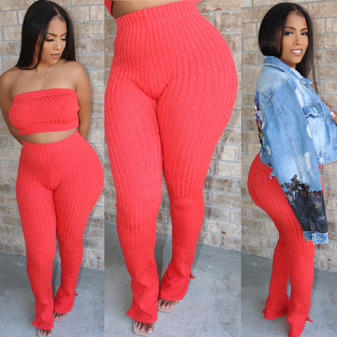 Ankle Flare Ribbed Set Peach