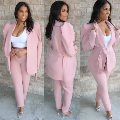Paris Puff Sleeve Suit Blush