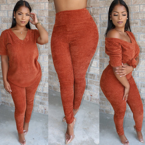 Teddy V Neck Set Rust