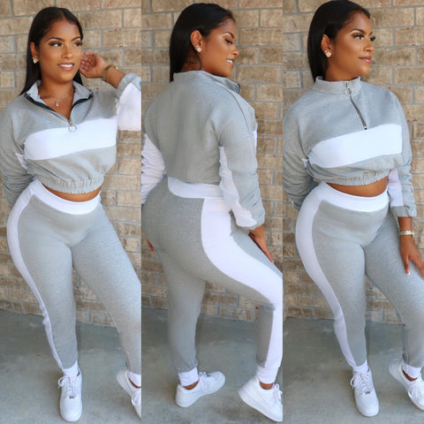 High Waist Jogger Set  Grey