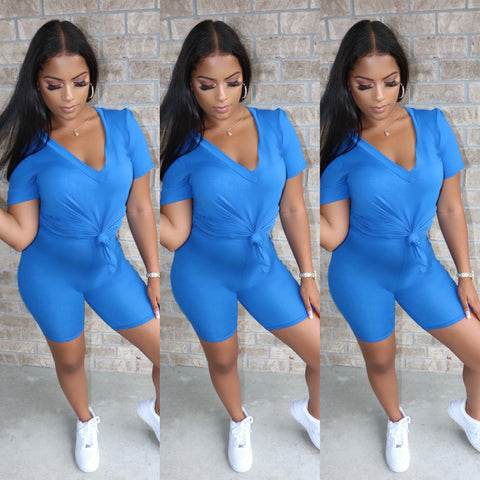 V-Neck Biker Set Nipsey Blue