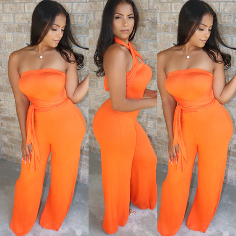 Multi Wrap Jumpsuit Orange Crush