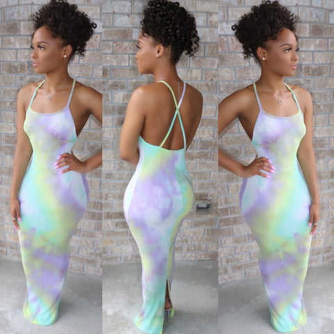 Backless Tie Dye Maxi Dress Lilac