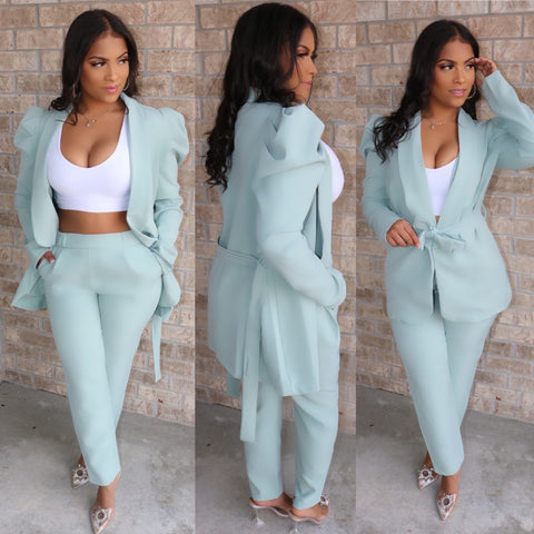 Paris Puff Sleeve Suit Mint