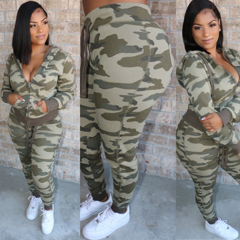 Pretty Camo Lounge Set Army