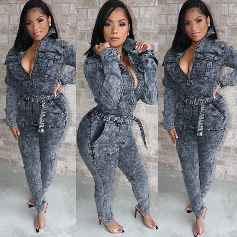 Mineral Wash Denim Jumpsuit