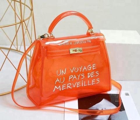 Milan Jelly Grafitti Handbag Orange