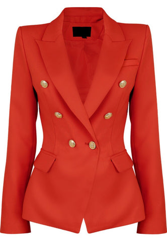 Milan Double Breast Blazer Red