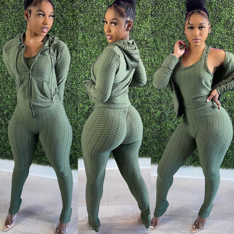 Pretty Active 3pc Hoodie Set Olive