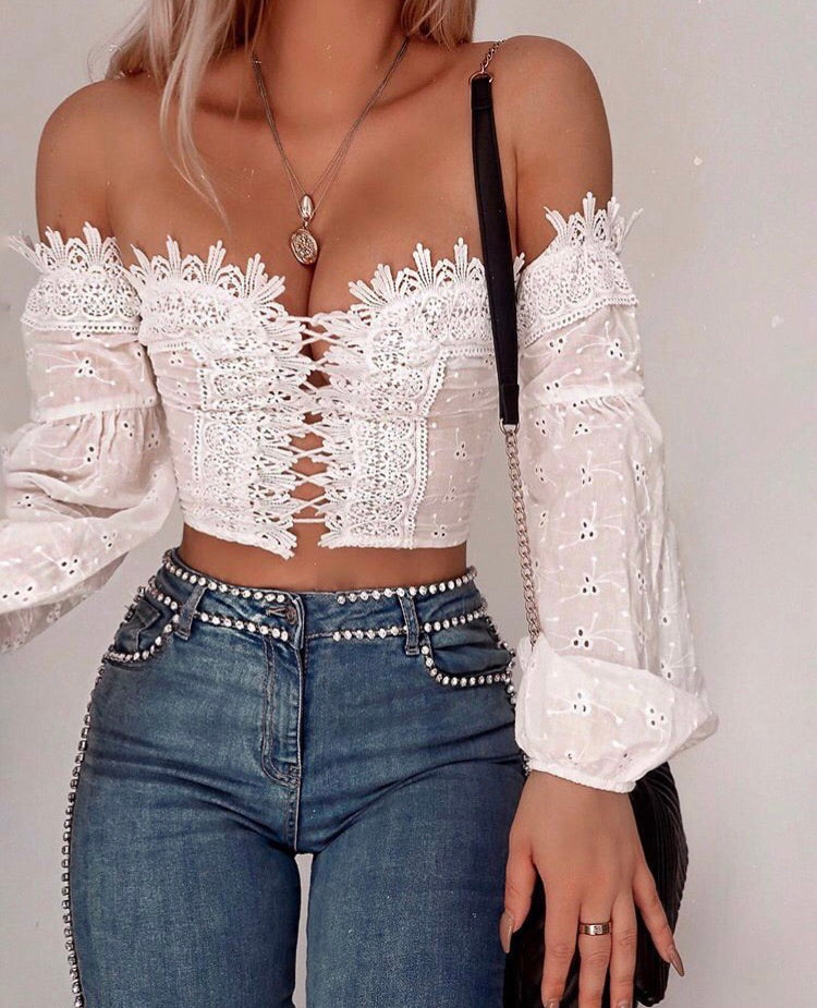 Vintage Crochet Crop Top Sugar Popped