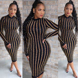 Shimmer Stripe Midi Dress Gold