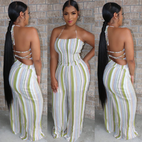 Backless Halter Jumpsuit Olive