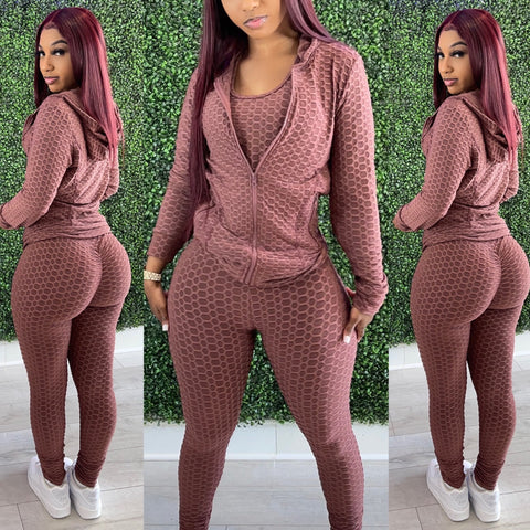 Pretty Active 3pc Hoodie Set Mocha