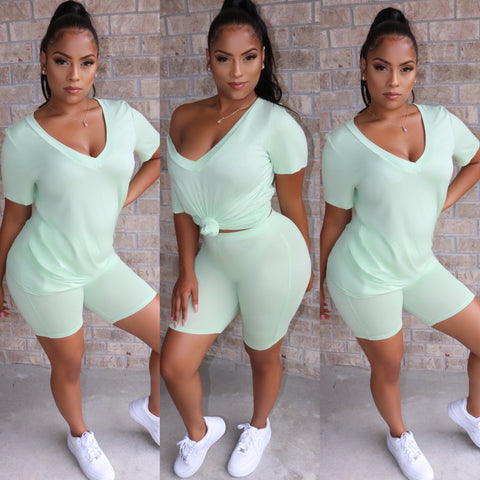 V-Neck Biker Set Mint