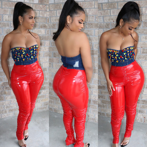 Patent Scrunch Pants Red