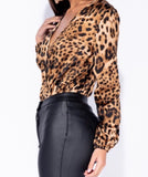 Satin Wrap Leopard Bodysuit