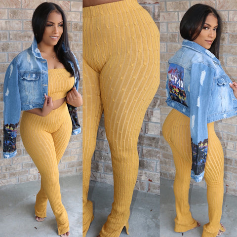 Ankle Flare Ribbed Set Mustard