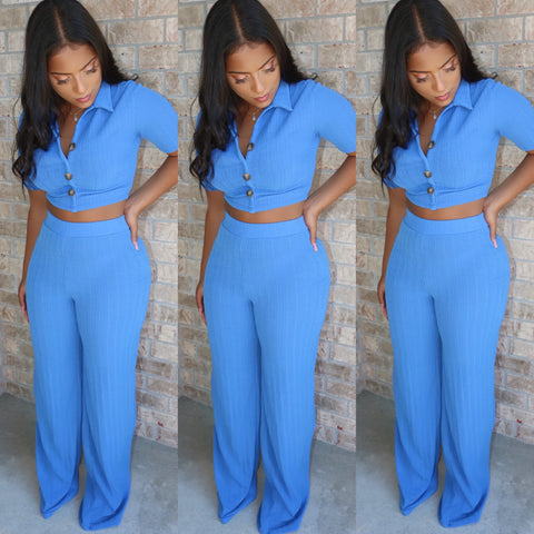Cabo Ribbed Set Blue