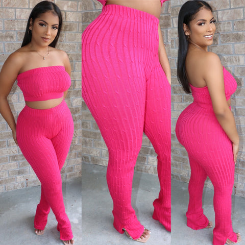 Ankle Flare Ribbed Set Magenta