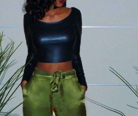 Sale* Vegan Leather Crop Top - Sugar Popped  - 1