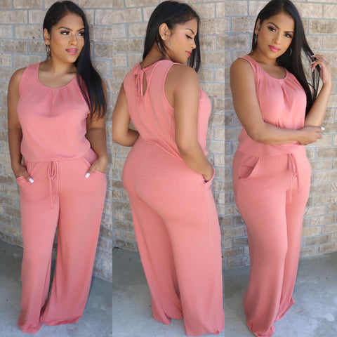 Essence Drawstring Jumpsuit Mauve