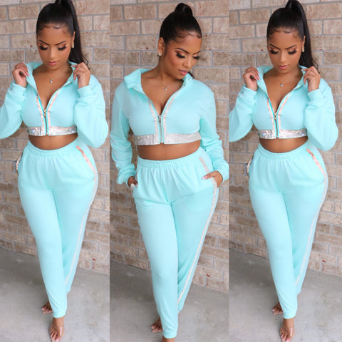Crystal Studded Sweatsuit Tiffany Blue
