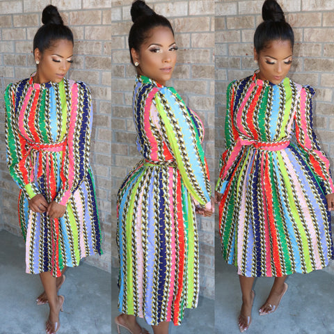 Pretty Lady Color Block Dress