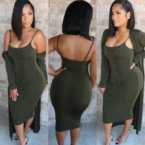 Double Layer Duster Dress Set Olive