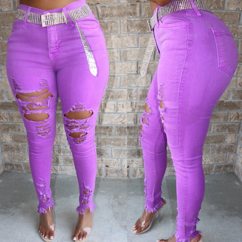 Neon Distressed Jeans Purple