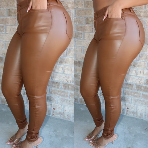 Vegan Leather Pants Caramel