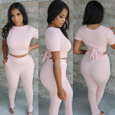 High Waist Snatched Set Blush