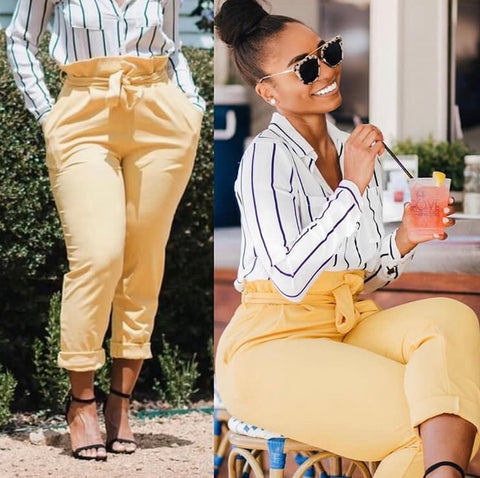 Ruffle High Waist Waist Pants Lemon