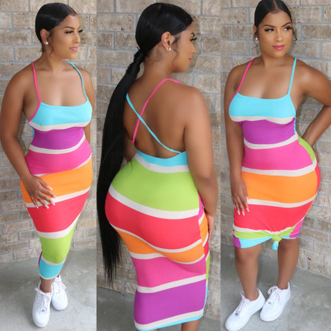 Backless Midi Dress Candy Stripe