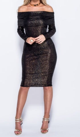 Sale* Metallic Knit Midi Dress - Sugar Popped  - 1