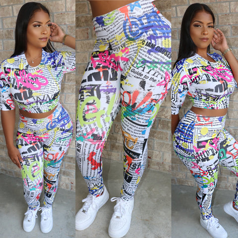 Graffiti High Waist Set