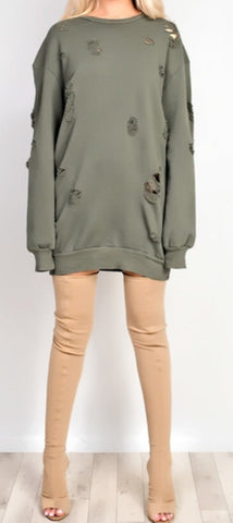 Kendall Destroyed Jumper Olive - Sugar Popped  - 1