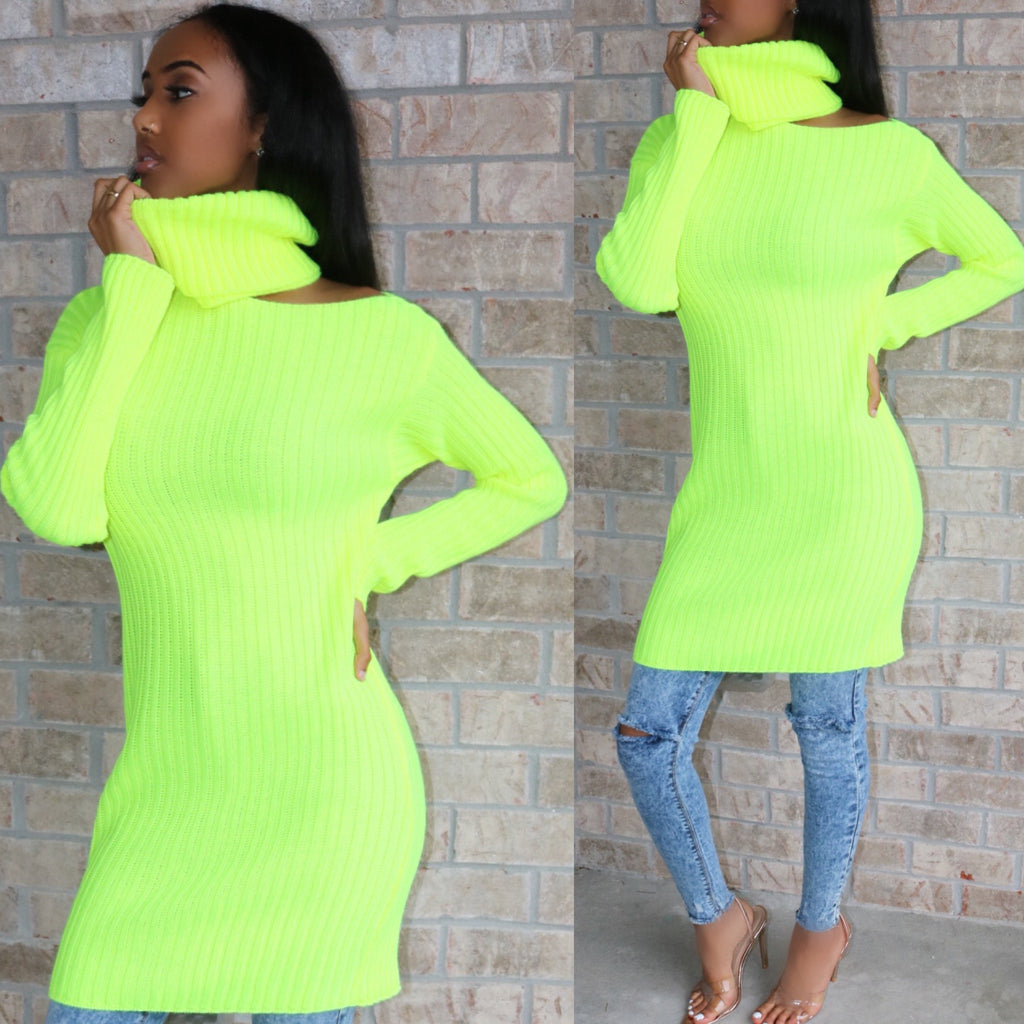 e05a7b3be93 Oversized Neon Lime Sweater – Sugar Popped