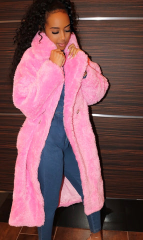 Plush Teddy Coat Bubble Gum
