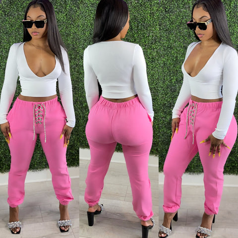 Crystal Rope Joggers Pink