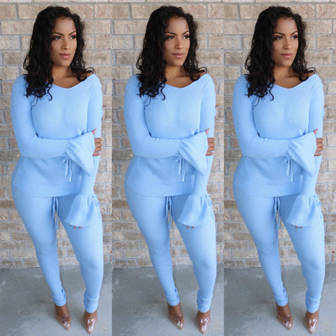 Cali Knit Set Powder Blue