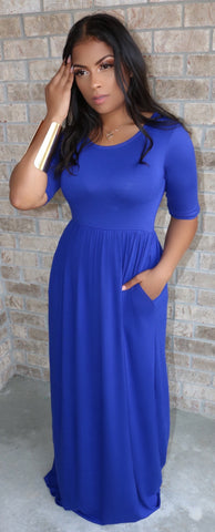 Moana Maxi Dress Royal Blue