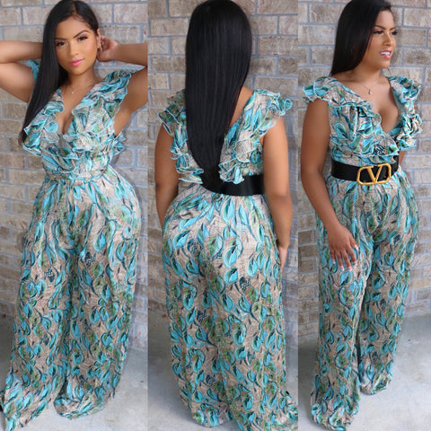 Ruffle Flare Jumpsuit Teal