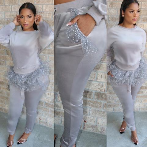 Ruffle Velour Sweatsuit Grey