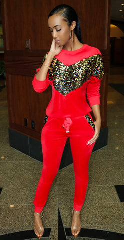 Glamour Sequin Sweatsuit Red