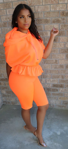 Peplum Jogger Set Neon Orange
