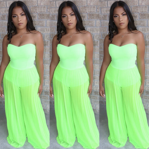 Neon Palazzo Jumpsuit Green