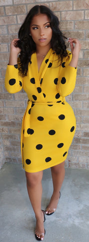 Lady Bug Polka Dress Mustard