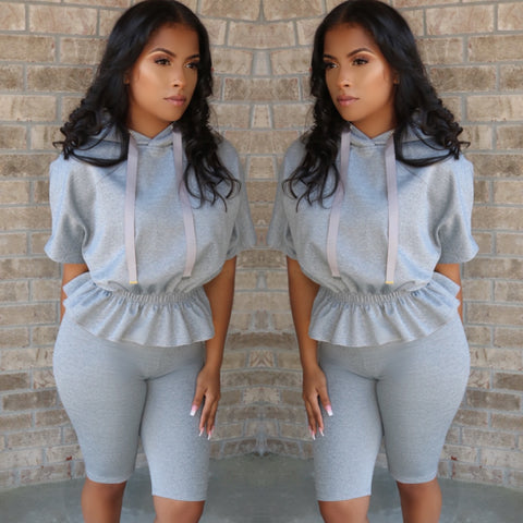 Peplum Jogger Set Grey