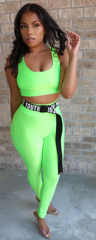Electric Neon Crop Set Green