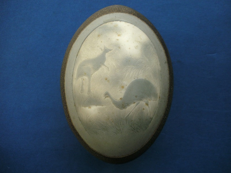 Australian aboriginal carved emu egg
